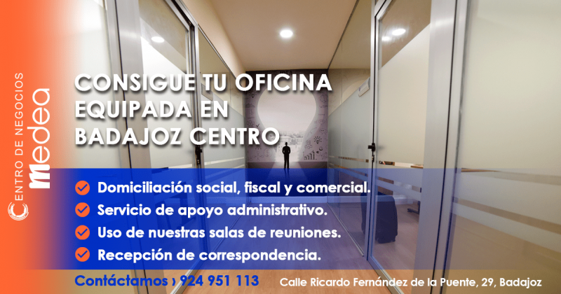 Consigue tu oficina equipada en Badajoz Centro